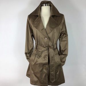 Kristen Blake Satin Trench coat dark Camel belted